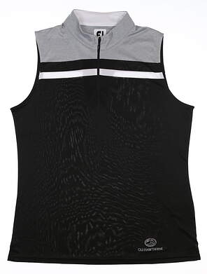 New W/ Logo Womens Footjoy Sleeveless Golf Polo X-Large XL Black 24703 MSRP $80