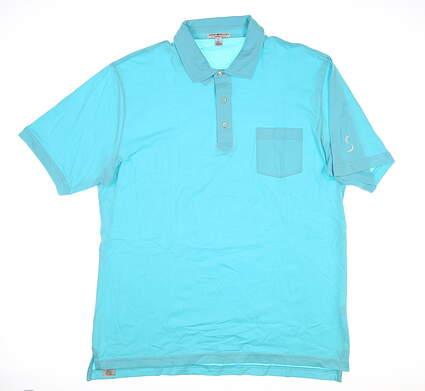 New W/ Logo Mens Peter Millar Golf Polo X-Large XL Blue MC00K21 MSRP $80