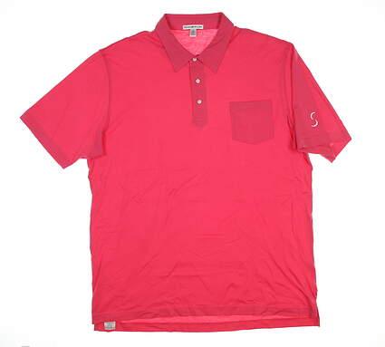New W/ Logo Mens Peter Millar Golf Polo X-Large XL Pink MC00K21 MSRP $80