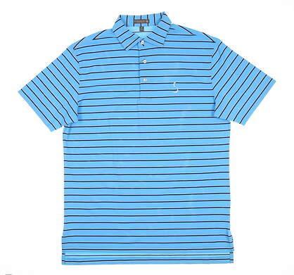 New W/ Logo Mens Peter Millar Golf Polo Medium M Blue MS18EK52S MSRP $89