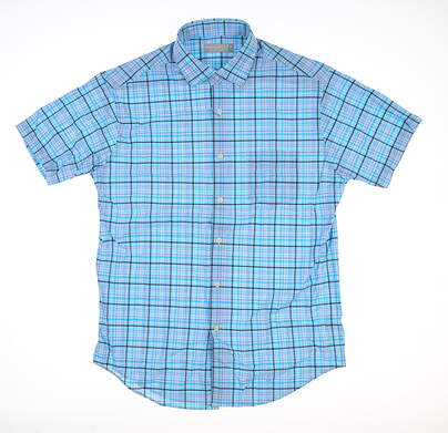 New Mens Peter Millar Button Down Polo Small S Blue MS18EW41SS MSRP $125