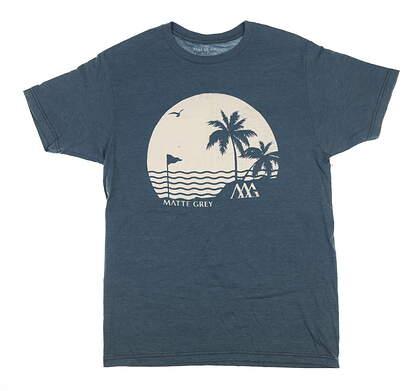 New Mens MATTE GREY T-Shirt Medium M Navy/White 161125 MSRP $30