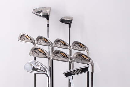 Mens Complete Golf Club Set Right Handed Stiff Flex Titleist Driver Ping Irons Wedge Putter Retail Price $ 2199