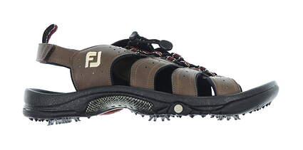 New Mens Golf Shoe Footjoy GreenJoys Sandal Medium 13 Brown 45434 MSRP $80