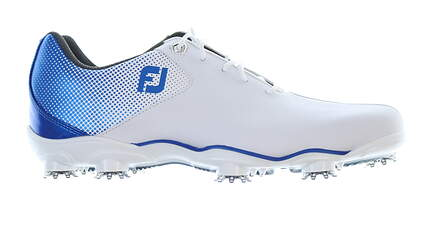 New Mens Golf Shoe Footjoy DNA Helix Wide 12 White/Blue 53334 MSRP $210