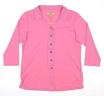 New Womens Sport Haley Lara 3/4 Sleeve Golf Polo Medium M Rosy MSRP $89