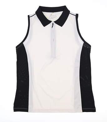 New Womens Peter Millar Sleeveless Golf Polo X-Small XS White/Black MSRP $69