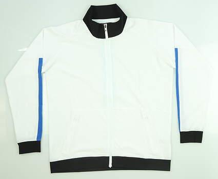 New Womens Footjoy Track Jacket Medium M White/Royal/Bluefish 27571 MSRP $135