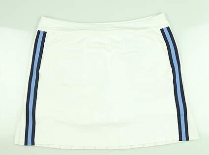 New Womens Ralph Lauren Polo Pleat Golf Skort Large L White/Blue MSRP $148