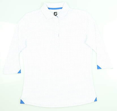 New Womens Footjoy 3/4 Sleeve Golf Polo X-Small XS White/Royal 27585 MSRP $85