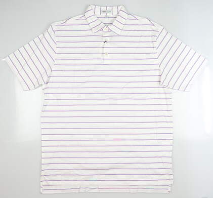 New Mens Peter Millar Golf Polo Large L White MS19K09S MSRP $95