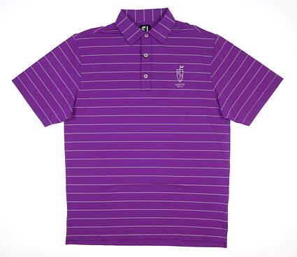New W/ Logo Mens Footjoy Lisle Pinstripe Golf Polo Medium M Violet MSRP $78