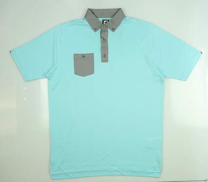 New Mens Footjoy Birdseye Jacquard Golf Polo Large L Aqua/Black 25743 MSRP $72