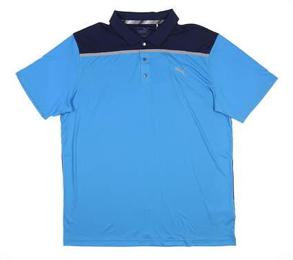 New Mens Puma Bonded Colorblock Polo Large L Bleu Azur 577876 03 MSRP $70