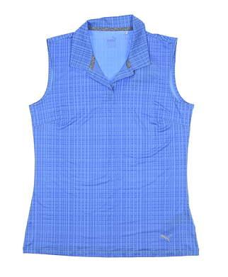 New Womens Puma Soft Plaid Sleeveless Golf Polo X-Large XL Blue 574777 MSRP $60