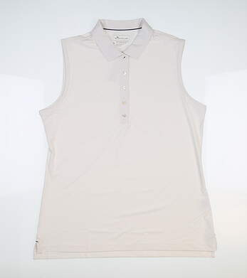 New Womens Peter Millar Perforamnce Sleeveless Polo Large L White MSRP $75
