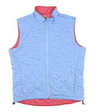 New Mens Peter Millar Crown Sport Reversible Vest Large Blue/Pink MSRP $165