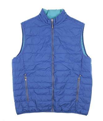 New Mens Peter Millar Reversible Vest Large L Blue/Teal MSRP $165
