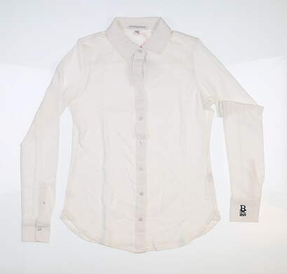 New Womens Fairway & Greene Beth Long Sleeve Button Down Polo XS Pearl MSRP $115