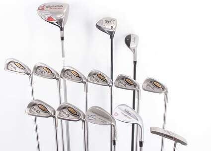 Mens Complete Golf Club Set Right Handed Regular Flex TaylorMade Driver Woods & Hybrid Ping Irons Wedge Putter MSRP $ 2099