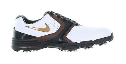 New Mens Golf Shoe Nike Lunar Saddle Medium 10 White/Brown 551456 101 MSRP $130