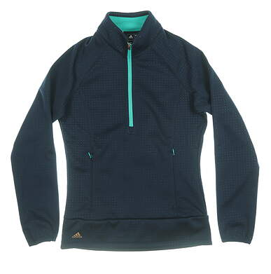 New Womens Adidas 1/2 Zip Wind Fleece Pullover X-Small Navy/Teal AE9097 MSRP $85