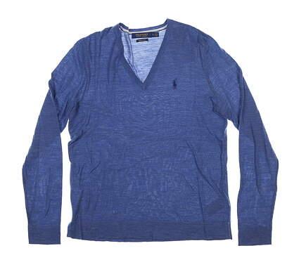 New Womens Ralph Lauren Golf Sweater Medium M Blue MSRP $145