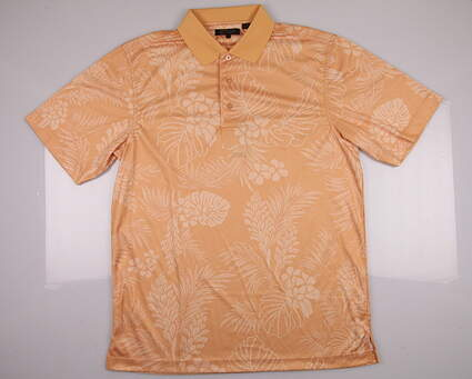 New Men's Monterey Club Golf Polo Large L Orange Tropical Print SS