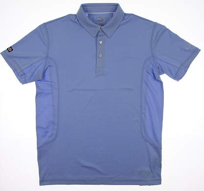 New Mens Puma Golf Polo Medium M Delia Robbia Blue Cresting 568243