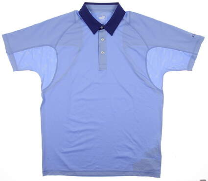 New Mens Puma Golf Polo Medium M Delia Robbia Blue Titan Tour Cresting 569073