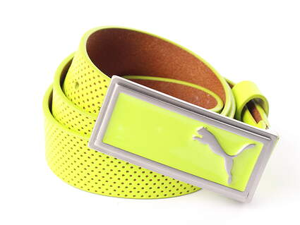 New Womens Puma Green Enamel Filled Perforated Belt Large Leather MSRP $40