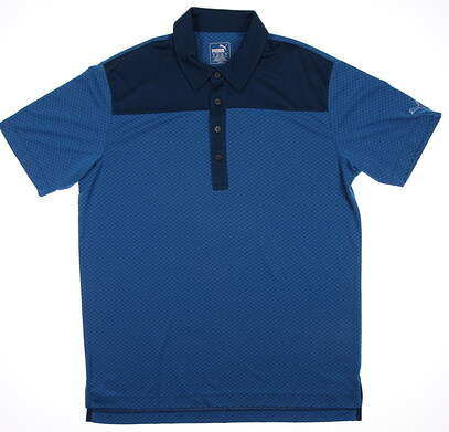 New Mens Puma Diamond Block Cresting Dry Cell Golf Polo Medium Cloisonne 570097 MSRP $75