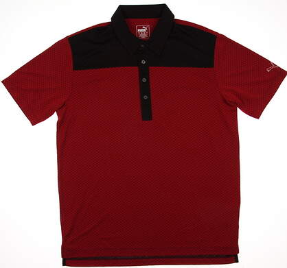 New Mens Puma Diamond Block Cresting Golf Polo Medium Red Black 570097 MSRP $75