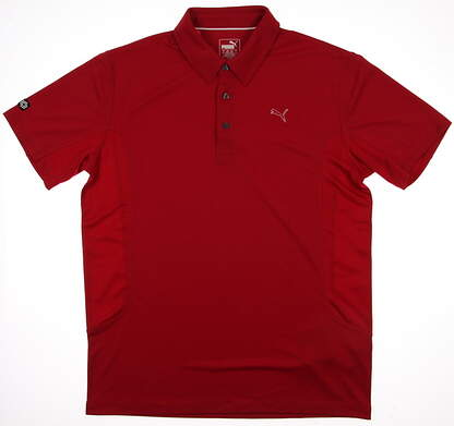 New Mens Puma Solid Tech Breathable Cool Cell Polo Medium Tango Red 568242 MSRP $65