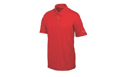 New Mens Puma Cresting Cool Cell Solid Tech Golf Polo Medium Tango Red 568243 MSRP $65