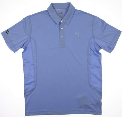 New Mens Puma Breathable Cool Cell Solid Tech Polo Medium Della Blue 568242 MSRP $65