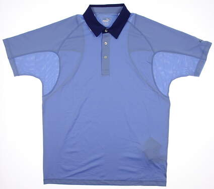 New Mens Puma Cresting Titan Tour Golf Polo Medium Della Robbia Blue 569073 MSRP $65