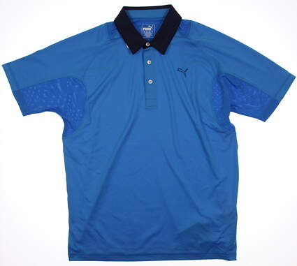 New Mens Puma Titan Tour Cresting Cool Cell Golf Polo Medium Cloisonne 568252 MSRP $65