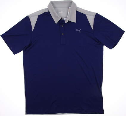 New Mens Puma Color Block Tech Dry Cell Golf Polo Medium Sodalite Gray 569107 MSRP $65