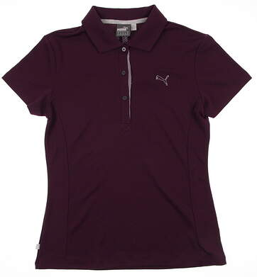 New Womens Puma Solid Tech Dry Cell Wicking Golf Polo Small Italian Plum 568336 MSRP $55