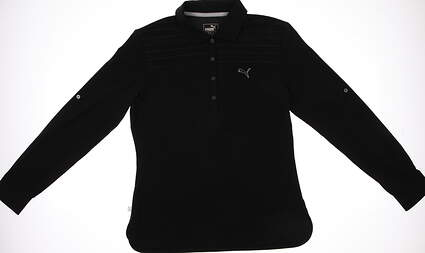 New Womens Puma Woven Dry Cell Golf Polo Small Black 569069 MSRP $70