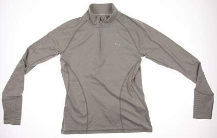 New Womens Puma Dry Cell Quarter Zip Baselayer Golf Pullover Small Light Gray 569077 MSRP $65