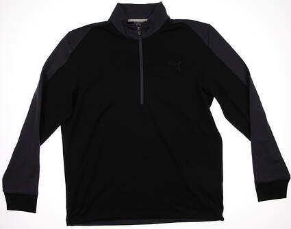 New Mens Puma Quarter Zip Color Block Warm Cell Pullover Medium Black 569100 MSRP $75