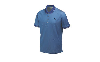 New Mens Puma Lux Speckled Dry Cell Golf Polo Medium Federal Blue 569296 MSRP $75
