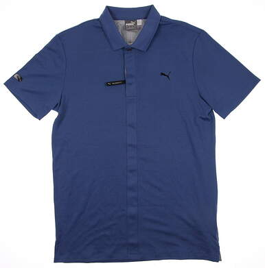 New Mens Puma Lux Fabric Dry Cell Golf Polo Medium Federal Blue 569301 MSRP $70