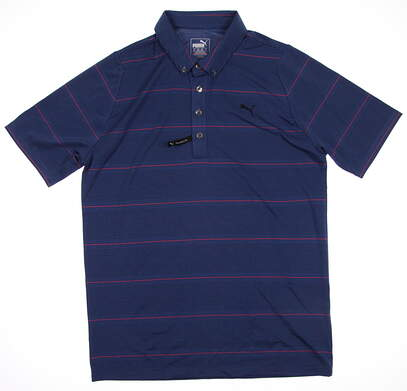 New Mens Puma Yarn Dye Dry Cell Golf Polo Medium Federal Blue Stripe 569298 MSRP $75