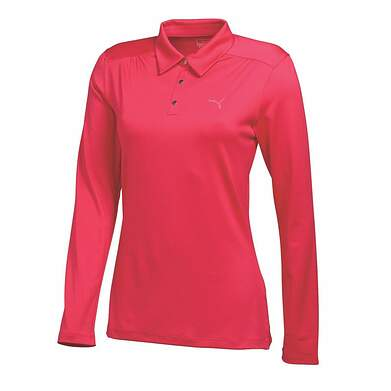 New Womens Puma Lux Woven Long SLeeve Polo Small Cayenne 568339 MSRP $65