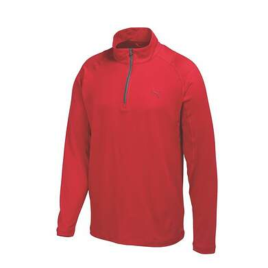 New Mens Puma Baselayer Dry Cell Golf Pullover Medium Tango Red 569113 MSRP $65