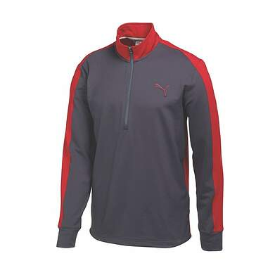 New Mens Puma Color Block Tech Dry Cell Golf Pullover Medium Gray Red 569100 MSRP $75