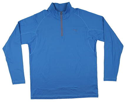 New Mens Puma Dry Cell Wicking Solid Tech Golf Pullover Medium Blue 569113 MSRP $65